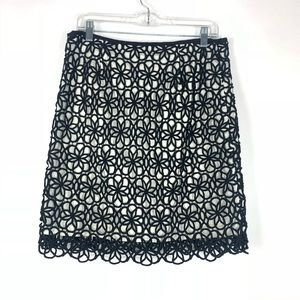 Anthro Lace Overlay Dilated Postmark Skirt
